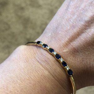 18k gold an diamond sapphire bangle